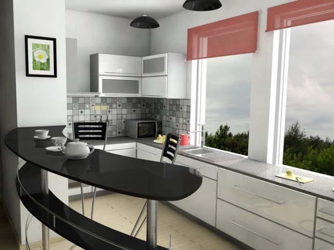 маленькая кухня дизайн с барной стойкой 3