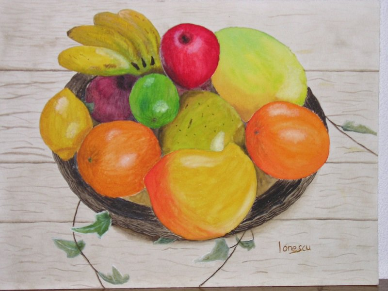 Obstkorb-Aquarell