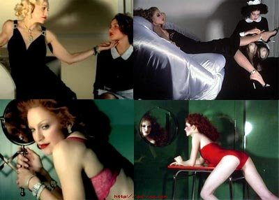 Il video di Madonna, diretto da Jean Baptiste Mondino, Hollywood (a destra, Guy Bourdin)