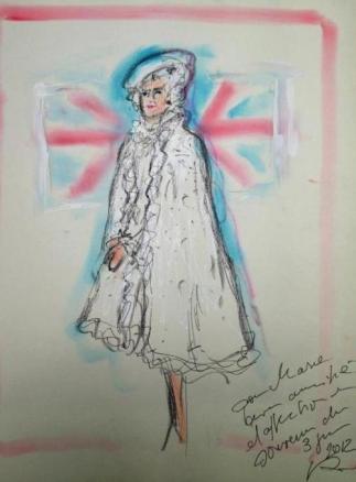 Bozzetto di Karl Lagerfeld - Queen Elizabeth II