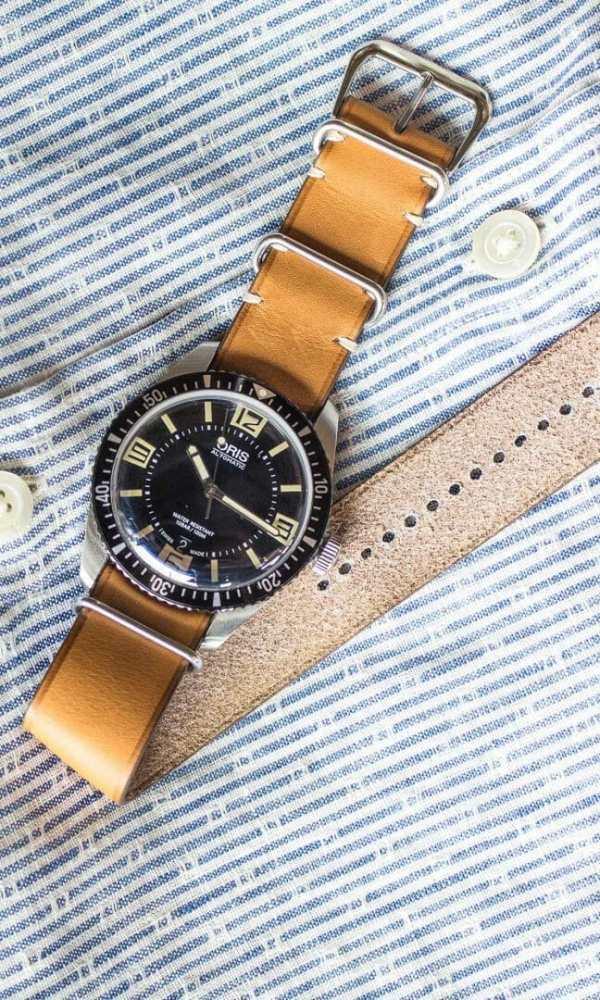 bracelet montre nato cuir veau gold m