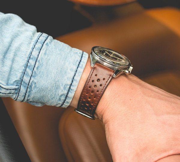 bracelet montre rallye cuir veau marron brillant fp