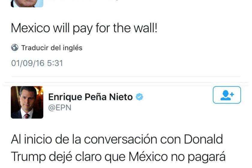 EPN niega que México pague el muro, Trump dice que lo hará