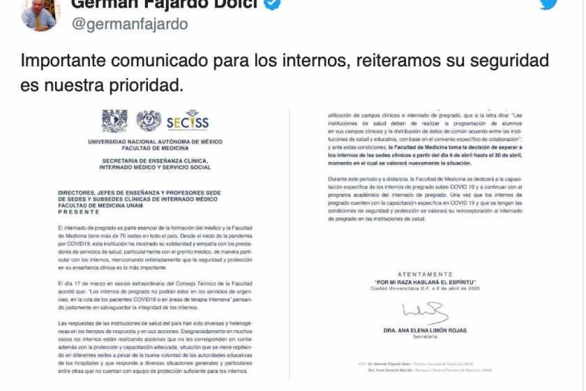 A pesar de lo que dicen López-Gatell y AMLO: El IPN y UNAM retiran a sus Internos de sede clínicas por falta de garantías.