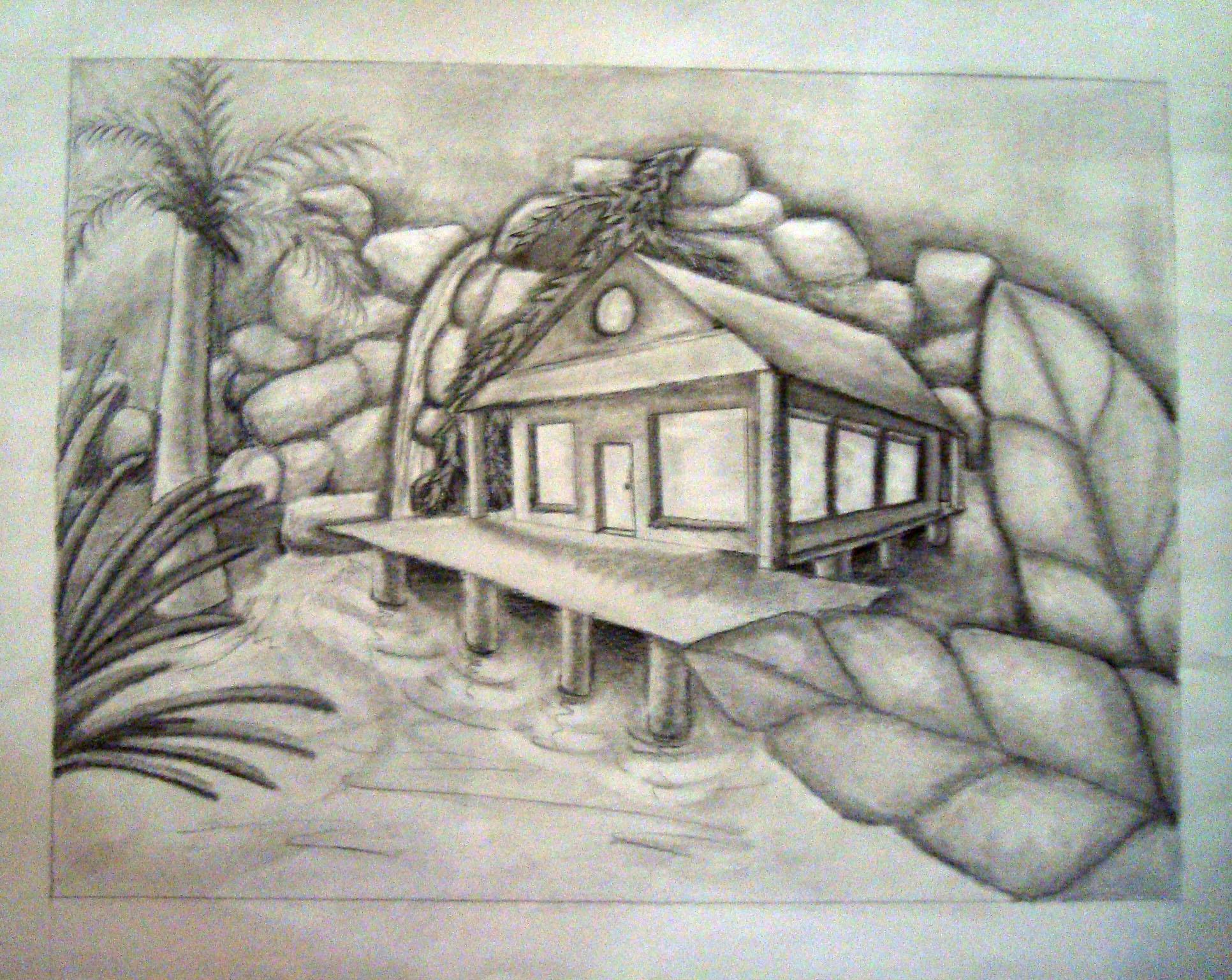 Hawaii House Two Point Perspective  MALIA MAUS Animator