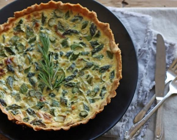 asparagus + leek quiche