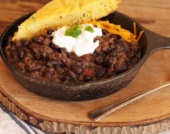 bison + black bean chili