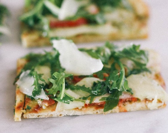 The sunset restaurant malibu's arugula + pesto flatbread
