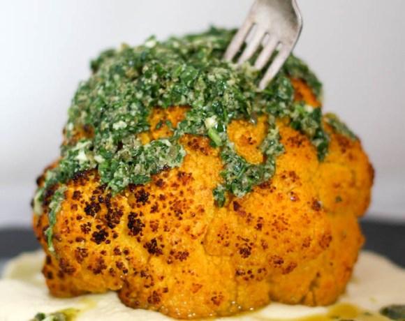 whole roasted cauliflower with almond aioli + salsa verde