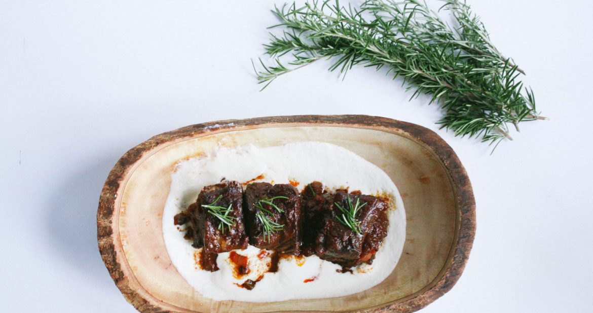 wine braised short ribs + creamy cauliflower puree