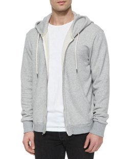 Rag & Bone Full-Zip Hooded Sweatshirt, Light Gray