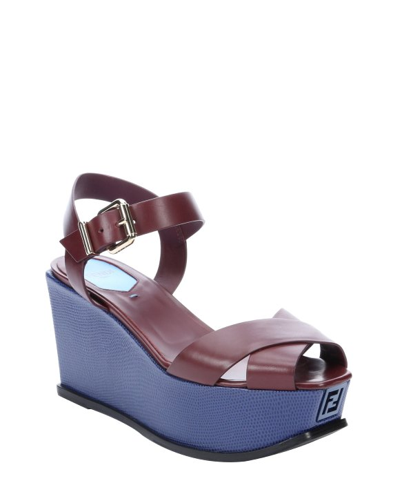 Fendi burgundy and blue leather colorblock platform wedge sandals