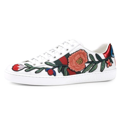 Gucci New Ace Floral Embroidered Low-Top Womens Sneakers