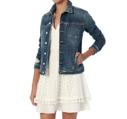 L'Agence Celine Femme Distressed Denim Womens Jacket