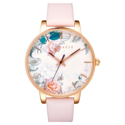 Ted Baker Round Dial Floral 40mm Leather Strap Womens Watch