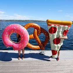 Inflatable Pool Float Toys – Pink Donuts, Pretzels, Pizza and More