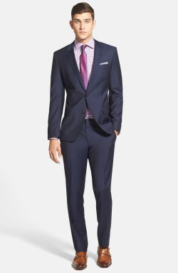 BOSS Trim Fit Navy Wool Suit