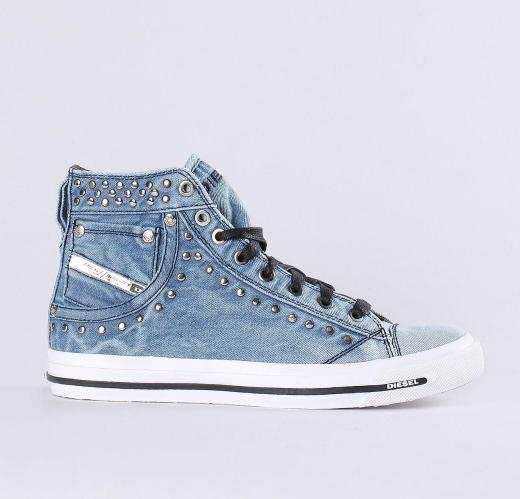 Diesel Faded Denim Exposure IV Womens Sneakers