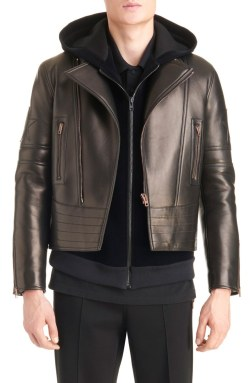 Givenchy Star Appliqué Leather Moto Jacket