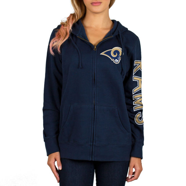 Los Angeles Rams Navy Full-Zip Women's Hoodie Sweatshirt