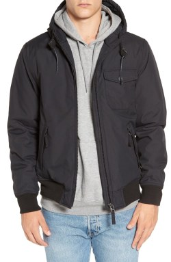 RVCA 'Bus Stop' Hooded Bomber Jacket