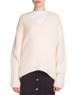 Acne Studios Long-Sleeve Oversized Pearl White Sweater