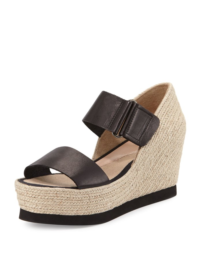 Andre Assous Gretta Leather Black/Natural Espadrille Wedge Sandal