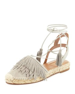 Aquazzura Fringe Suede & Leather Espadrille Flat