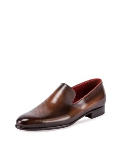 Berluti Scritto Leather Slip-On Dress Shoes