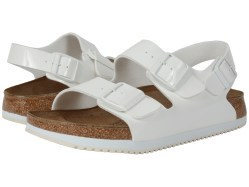 Birkenstock Milano Super Grip Bright White Patent Birko-Flor Sandals