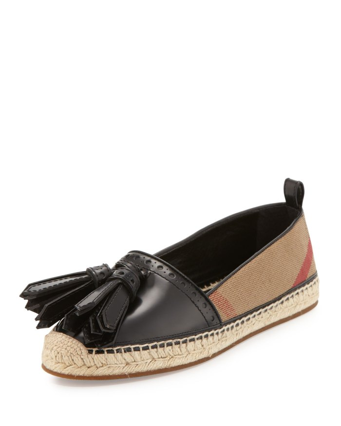 Burberry Hodgeson Tassel Check Espadrille Shoes