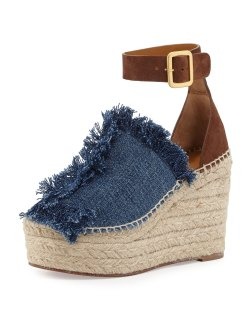 Chloe Frayed Denim Espadrille Sandals