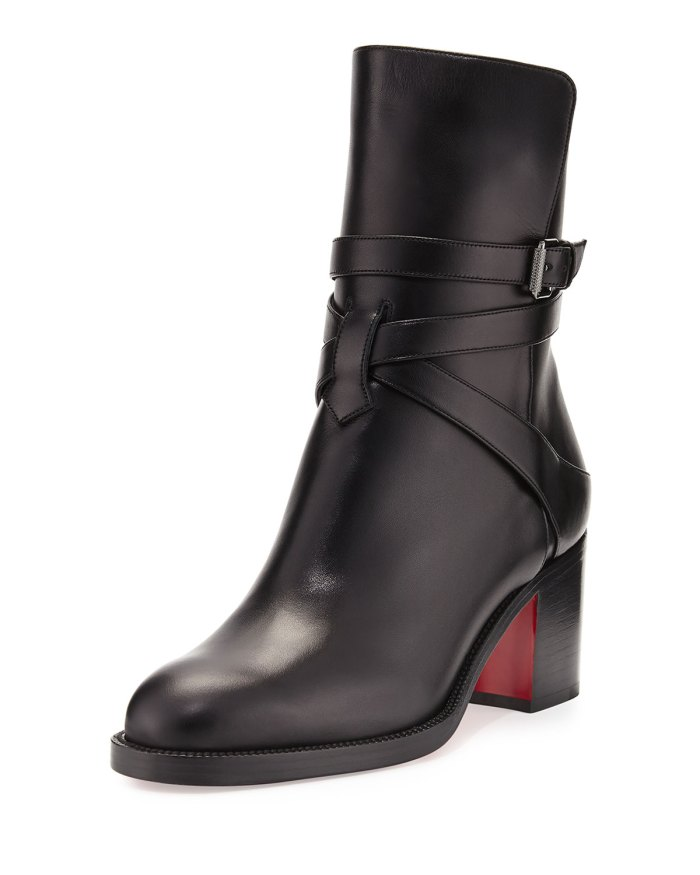 Christian Louboutin Karistrap Black Leather 70mm Red Sole Ankle Boots