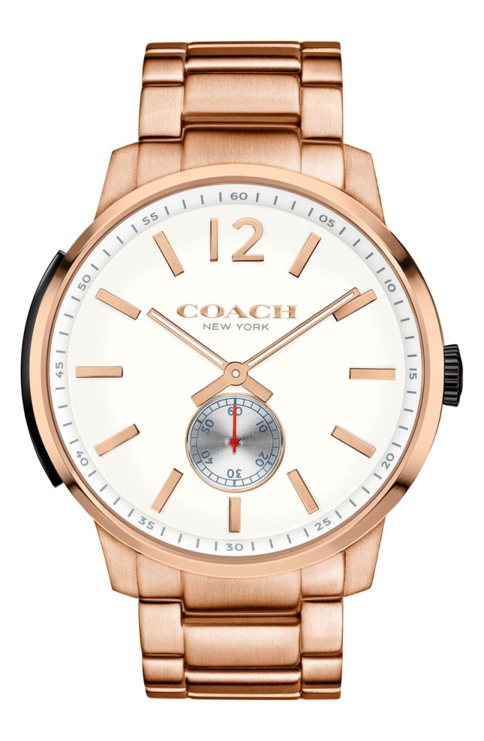COACH 'Bleeker' 46mm Round Rose Gold Bracelet Mens Watch