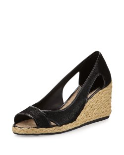 Donald J Pliner Coraa Black Espadrille Wedge Sandals