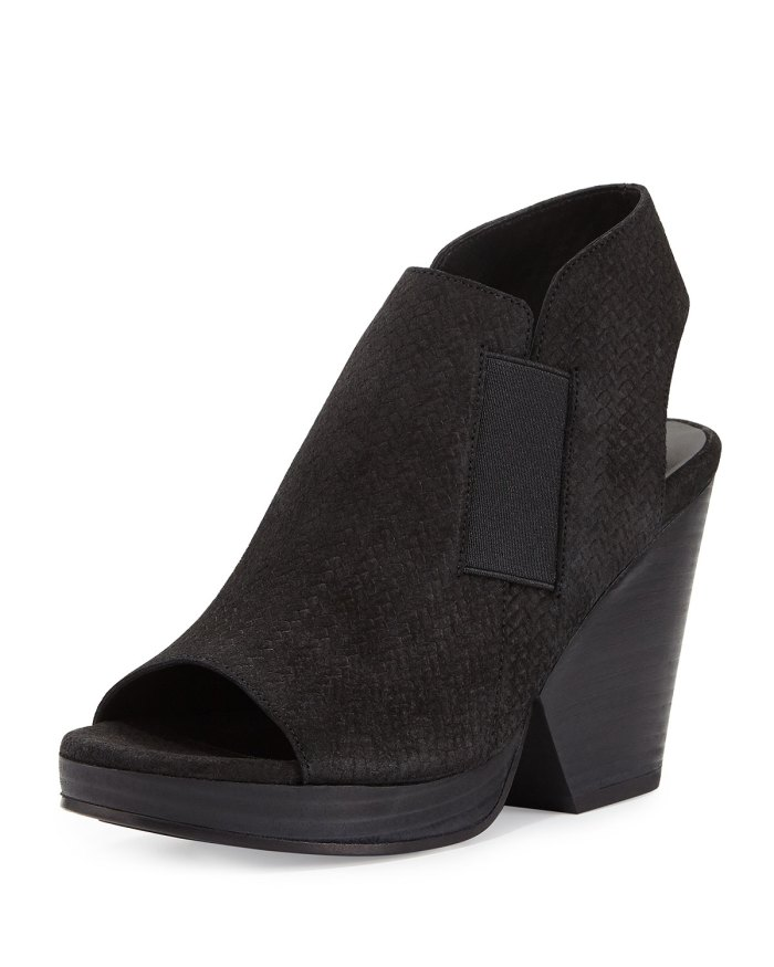 Eileen Fisher Plus Black Woven-Suede Open-Toe Bootie Shoes