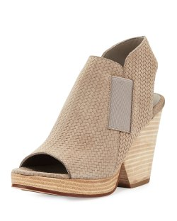 Eileen Fisher Plus Earth Woven-Suede Open-Toe Bootie Shoes