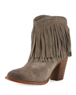 Frye Ilana Fringe Dark Gray Suede Bootie Shoes