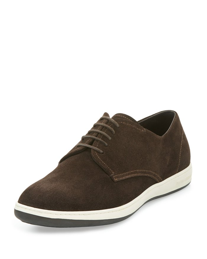 Giorgio Armani Perforated Brown Suede Rubber-Sole Derby Shoes