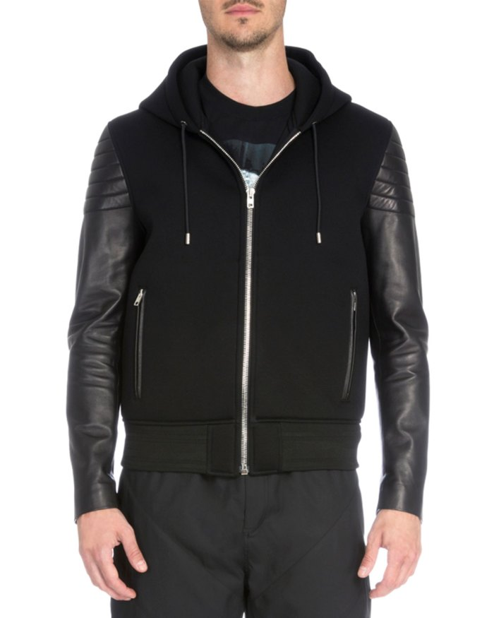 Givenchy Zip-Up Hoodie with Leather Sleeves