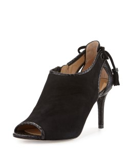 MICHAEL Michael Kors Jennings Black Suede Bow-Back Mid-Heel Bootie Shoes