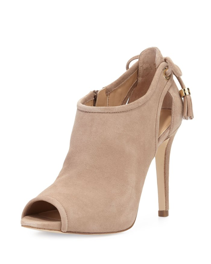 MICHAEL Michael Kors Jennings Dark Khaki Suede Bow-Back Open-Toe Bootie Shoes