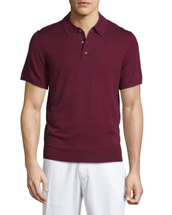 Neiman Marcus Short-Sleeve Wine Cashmere-Silk Polo Shirt