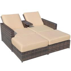 Outdoor 3-Piece PE Rattan Wicker Patio Love Seat Lounge Chair Set