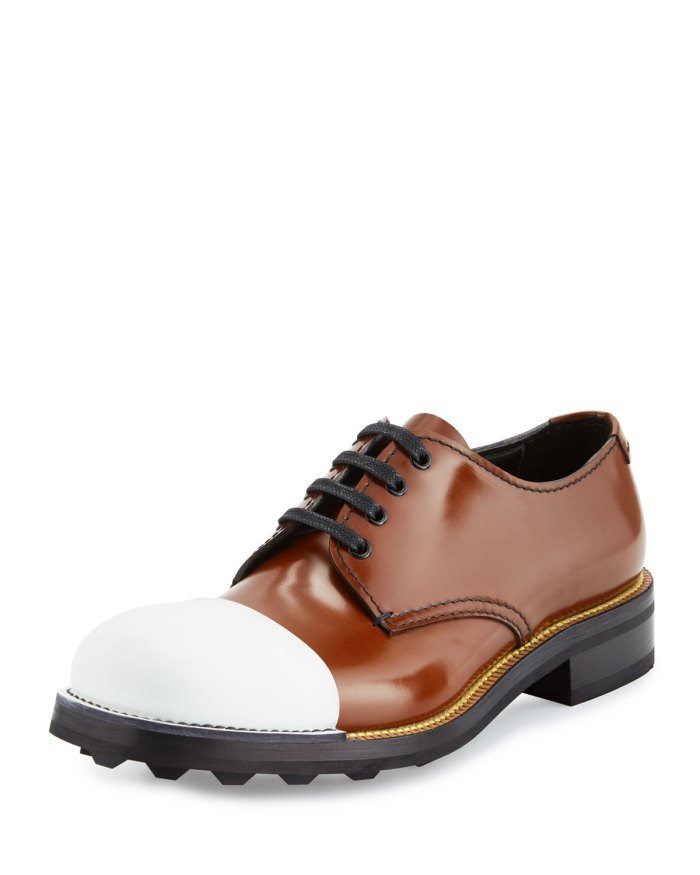 Prada Cap-Toe Brown & White Leather Oxford Shoes