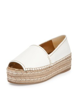 Prada Napa Leather Bianco Platform Espadrille Shoes