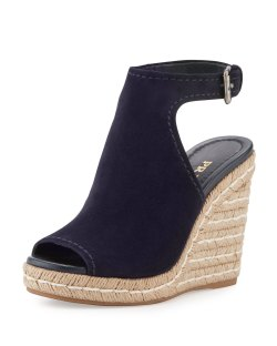 Prada Suede Open-Toe Blue Espadrille Glove Sandals