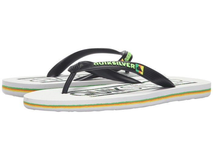 Quiksilver Molokai Wordmark Black White Green Sandals