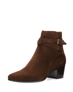 Saint Laurent Blake Coffee Suede Ankle-Wrap Bootie Shoes