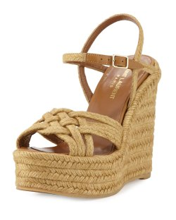 Saint Laurent Braided Jute Almond Wedge Sandals
